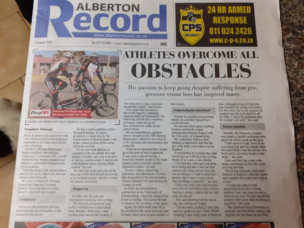 Alberton record Article on Lida Alberts Return to Cycling