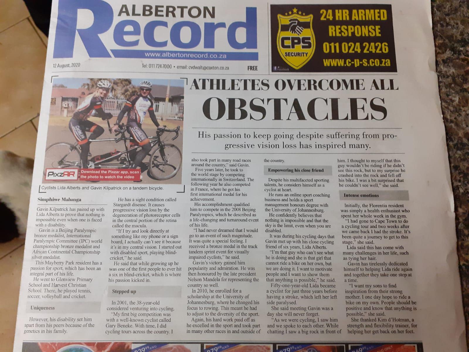 Alberton record Article on Lida Alberts Return to Cycling